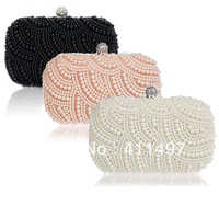 Noble High Quality Beading Crossed crochet evening Clutch bag,white pearl beaded party purse,white beads clutches