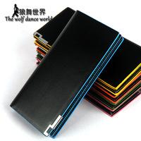 Male long design wallet multi card holder multifunctional male wallet color block lettering lovers wallet