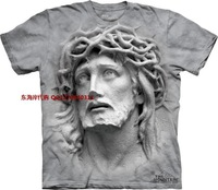 Men and women 3D t shirtThe*mountain relief stone statue jesus pattern t-shirt
