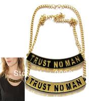2014 new. Gold Plated Acrylic Nicki Minaj TRUST NO MAN NECKLACE JAZZ DANCE JEWELRY