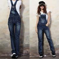 Fashion denim bib pants female spaghetti strap slim jeans pants hot-selling jumpsuit
