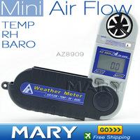 Top quality AZ8909 Foldable Mini Wind speed Meter Pocket digital anemometer wind gauge 4 in 1 wind meter