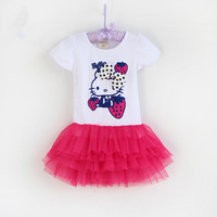 new arrival  girl's summer dress new fashion wholesale  baby clothes children hello kitty printed  dresses free shipping