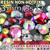 3MM SS12,Mix Colors Nail Art Rhinestones 2500pcs/bag Resin Non HotFix FlatBack Crystals Nails Glitters Decoration strass stone