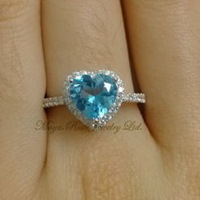 Natural Swiss Blue Topaz Ring Heart Shape Girlfriend Gifts 925 Sterling Silver White Gold Plated Cubic Zircon Around