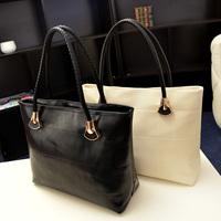 Fashion brief fashion all-match black women's quality casual handbag shopping bag shoulder bag big bags, free shipping