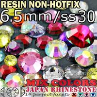 6.5MM SS30,Mix Colors Crystals 500pcs/bag Resin Non HotFix FlatBack Rhinestones for Nail Decoration Glitters strass stones