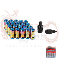 KYLIN STORE - NEO CHROME VOLK RAYS FORMULA WHEELS LOCK LUG NUTS 12X1.5 1.5 ACORN RIM CLOSE END