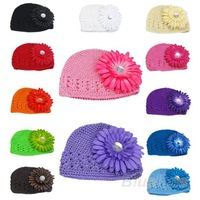 Winter Warm Cute Baby Girl Infant Toddler Hand Crochet Beanie  knitted Hat + Daisy Flower Clip Cap Accessories 03FP