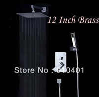 "Free Shipping Wholesale And Retail Promotion Chrome Brass Wall Mounted 12"" Rain Shower Faucet Set Modern Square Shower Mixer"