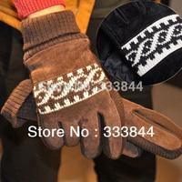 Free Shipping, Outdoor winter cycling gloves men's plus thick velvet slip gloves pigskin gloves, leather cool gloves, ST11