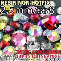 2.5MM SS8,Mix Colors Nail Art Rhinestones 3000pcs/bag Resin Non HotFix FlatBack Crystals stone DIY Decoration Nails Glitters