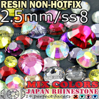 2.5MM SS8,Mix Colors Nail Crystals 3000pcs/bag Resin Non HotFix FlatBack Rhinestones,Not Hot Fix Glitters strass Glue on stones