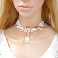 Small white short design vintage pearl gem lace necklace wedding bride accessories xl114