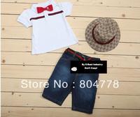 Cool Boy Suits 2014 New Fashion Kid's 3pcs Clothing Sets Summer ShortSleeve Tee Shirt+Denim Jeans Pant+Sun Hat 6sets/lot