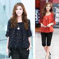 New 2014 Plus Size women blouse summer chiffon blouse casual loose Cool Polka Dot ladies shirt blusas M ~ 4XL