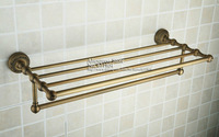 Antique Brass Bathroom Bath Towel Rack Shelf With Tewel Bar 3611601