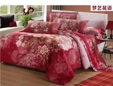 2014 new fashion large pattern dream flower 3d oil painting 100% cotton 4pcs luxury home bedding/bedlinen/comforter set/B2170(China (Mainland))