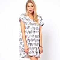 2014 new summer women's short sleeve elephant printed plus size blouse dresses