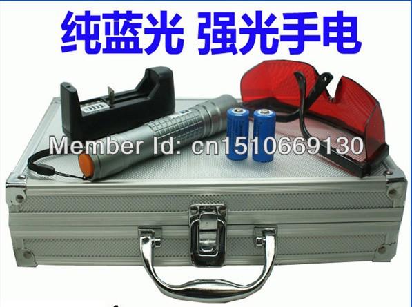 445nm 1000mw blue laser pointer 1W waterproof focusburning blue laser torch light cigars(China (Mainland))
