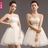 Female short dress bridesmaid dress 2015 princess tube top bandage puff  dress short design Free shipping