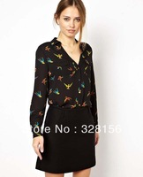 2014 New Arrival Top quality Women Bird Print Chiffon blouse Casual Loose Shirt Free shipping