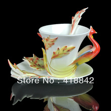 Porcelain Red  gorgeous  Phoenix Coffee Set/ Tea Cup Saucer Spoon Wedding Gift