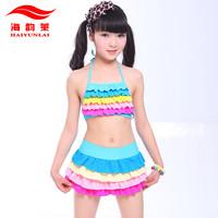 Child swimwear female child split skirt bikini swimwear 5 7 9 - - - - 11 13 years old