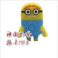 newest cartoon yellow daddy mp3 player dispicable me movie famous robot mp3 player with tf slot for 128-8GB DHL fast shipping
