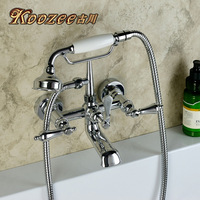 Copper american fashion shower set chrome silver antique bathtub shower faucet hot and cold