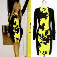 2014 spring Long Sleeve Floral Print bodycon european style dress celebrity dresses office ladies career pencil dress vestidos