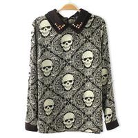 Fashion baroque vintage skull print rivet 100% cotton shirt female slim shirt