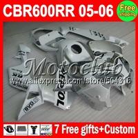 NEWMMC75 F5 For HONDA CBR600 RR silvery white CBR600F5 05 06 CBR 600 600RR 2005 2006 CL448 CBR600RR 05 06 Repsol custom ABS Fair
