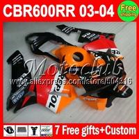 Repsol Orange For HONDA CBR 600 600RR CBR600RR 03 04 red CBR600 RR F5  MMC74 CBR600F5 03 04 2003 2004 CL260 Fairing Kit+7gifts