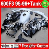 7gifts  Graffiti For HONDA CBR600F3 CBR 600F3 95 96 Black white CBR600 F3 FS 70MC1775 CBR 600 F3 95-96 1995 1996 Fairing Kit