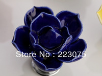Free shipping D:45MM blue lotus flower ceramic Cabinet DRAWER Pull Dresser pull/ Kitchen  knob door handel with screw 10pcs/lot