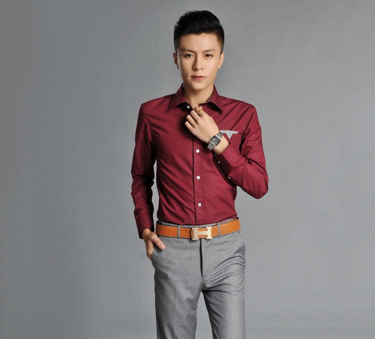 2014 men korean slim burgundy long sleeved shirt tide male for What goes with burgundy shirt