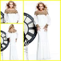 Arabic Style White Chiffon Long Sleeves Mermaid Evening Dresses Gowns 2014 Dubai Kaftan Dresses For Muslim Women