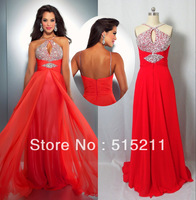 Real Photo Sexy Halter Neck Front Slit Open Back Empire Orange Blue Chiffon Long Prom Dresses Party Gowns 2014 Free Shipping