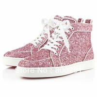 Men's Women's 2013 New Red Bottom Pink Glitter High Top Lace Up Fashion Designer Sneakers Unisex Cheap Brand Flat Casual Shoes