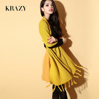 Krazy autumn and winter candy color all-match newlywaved knitted cloak cape multi-purpose long scarf 6118