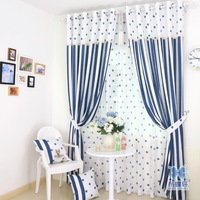 Free Shipping Modern European Style Stripe and dot Curtains and Tulle for Kitchen Curtains for Dining Room