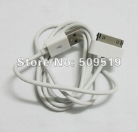 China post office 2pcs/Lot 1m white data sync USB cable/data cable/charger cable for iphone 4 4S+Only To USA  Drop shipping  #37