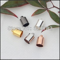 7x11mm 500pcs mixed plated crimp cord end caps bead Inner Diameter 6.5mm,End Tip Crimp Beads for make Leather Jewelry findings