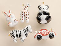 Free shipping  ceramic animal Cabinet DRAWER Pull Dresser pull/ Kitchen  knob door handel with screw 10pcs/lot