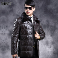 Men genuine leather clothing mink hair men's medium-long down coat 1816