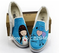 High quality Cute cartoon women's sports shoes Big size hand-painted shoes canvas gym shoes sneaker size 35.36.37.38.39.40.41
