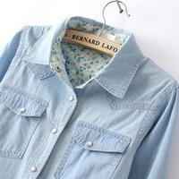 2014 denim shirt female long-sleeve slim all-match fashion casual denim shirt basic shirt 100% cotton