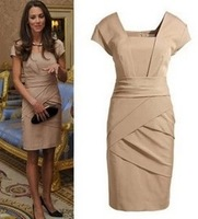 Fashion British Princess Kate same paragraph OL Slim dress 2 colors S M L XL nude black color  new 2014  Free Shipping  D3018