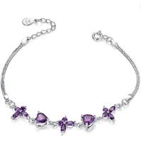 [Free Shipping] 925 Sterling Silver Romantic Purple Cubic Zirconia Sparkle Women Bracelets 2014 new